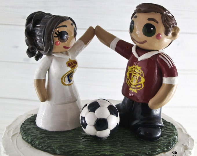Soccer Wedding Cake Topper Bride And Groom