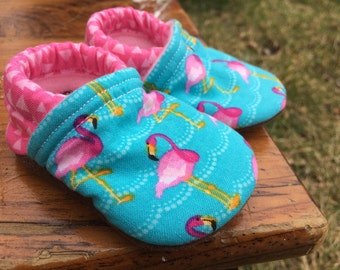 Baby Shoes for Girls - LAST PAIR - Pink Flamingos and Blue Waves - Made to Order Sizes 0-24 months 2T-4T