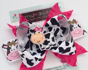 Cow Bow, Cow Hairbow - Udderly Adorable - black, white and pink ribbons with sweet cow center
