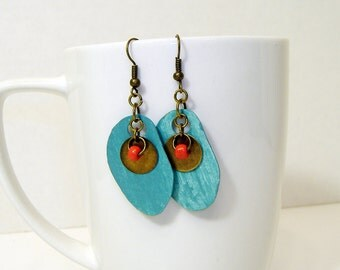 Teal Colored Paper Earring with Brass and Red Glass Bead Adornment
