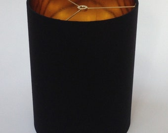 "8"" Diameter X 11"" Drum Lamp Shade in Black Linen with Metallic Gold Inside with Euro Fitter 4"" Drop"