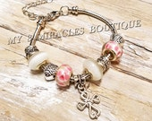 CROSS Bracelet Silver Snake Chain Charms ADJUSTABLE Pink & White glass beads girl teen First 1st Communion Confirmation Easter Basket Gift