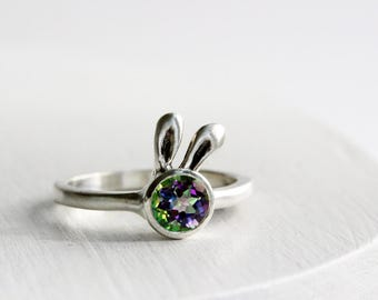 Mystic Bunny Ring,Mystic Topaz Sterling Silver Ring,Bunny Fine Jewelry,MADE TO ORDER
