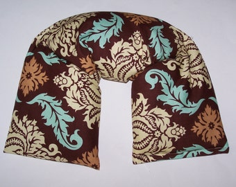 Neck & Shoulder Wrap  Pillow, Flax seed pillow -  Heating Pad Ice Pack-Flax seed therapy pillow  in Damask in bark