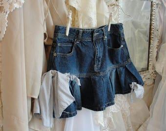 Funky artsy jean skirt, upcycled gypsy boho urban cowgirl