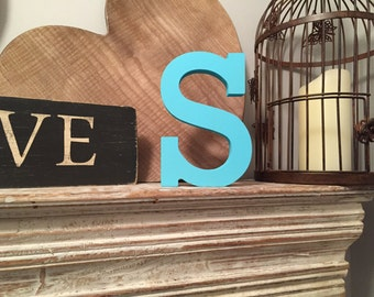 Hand-painted Wooden Letter S - Freestanding - Rockwell Font - Various sizes, finishes and colours