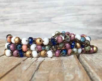 Bohemian Hippie jewelry - artisan boho - everyday wrap boho - yoga boho - boho bracelet - boho wrap bracelet - gypsy necklace