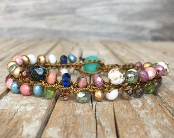 Hippie bracelet - Boho crochet bracelet - Boho Hippie Stackable Bracelet - artisan beaded bracelet - yoga boho - beaded bracelet