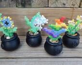 Choose one pixel art retro flowers original designs cauldron colorful fake flower handmade lightning vine rainbow flower