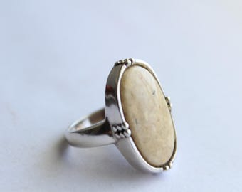 Sterling Silver and Stone Ring  Size 7 3/4