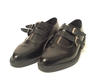 Vintage Pointed TUK shoes / Zips + Double Buckles / Creeper Style