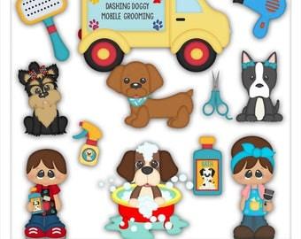 Little Dog Groomers Clipart (Digital Zip Download)