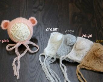 Newborn Teddy bear hat, Newborn hat, Newborn bonnet, newborn photography prop, newborn prop bonnet