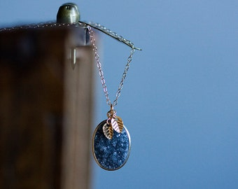 Leaves Gray Druzy Necklace Grey Druzy Pendant Tiny Leaf Necklace Drusy Jewelry - N346