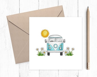 Camper Van Blank Greeting Card, greeting card, VW Camper Van, caravan, motorhome, Camper Van card, ideal for camper van lovers