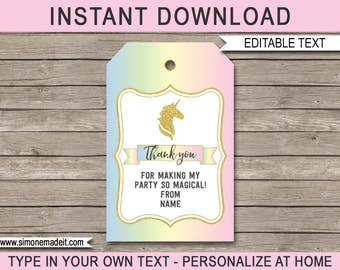 Unicorn Favor Tags - Unicorn Thank You Tags - Birthday Party Favors - Printable Unicorn Tags - INSTANT DOWNLOAD with EDITABLE text