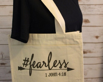 Fearless-Large Canvas Tote with Exterior Pocket