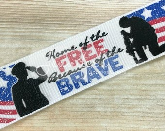 """Home of the Free, Because of the Brave Collection, 7/8"""", Glitter Ribbon, US Designer Ribbon, Military Ribbon, Patriotic Ribbon, July 4th"""
