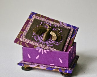 Handmade Box in Purples and Gold with Brass Bee for Gift or Decor