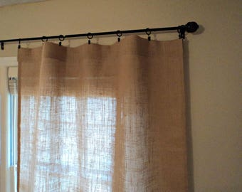 Set of 2 No Odor Burlap Curtain Panels Rustic Window Treatment Modern Farmhouse Curtain Panels Custom Sizes Available