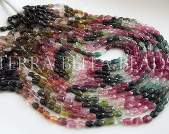 "13"" strand WATERMELON TOURMALINE faceted gem stone oval nugget beads 5mm - 7mm"