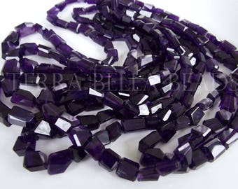 "8"" deep PURPLE AMETHYST faceted gem stone geometric nugget beads 6mm - 10mm"