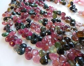 "4"" half strand WATERMELON TOURMALINE faceted gem stone heart briolette beads 7mm - 8mm"