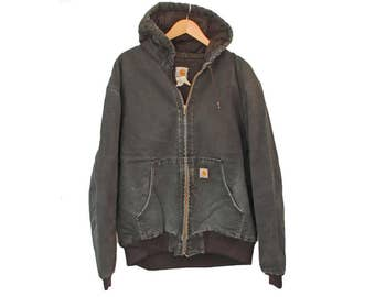 "Vintage CARHARTT Jacket Chore Hooded Lined - 2XL 50"" (26009)"