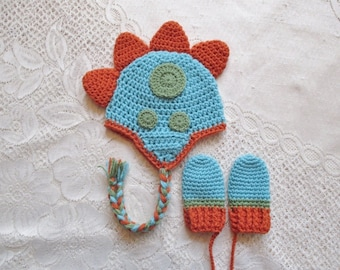 Aqua, Orange and Green Crochet Dinosaur Hat and Mitten Set - Winter Hat or Photo Prop - Available in Baby to Toddler Size - Any Color Combo