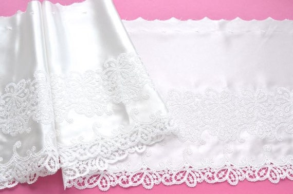 White satin trim satin embroidered wedding trim bridal for White silk slip wedding dress
