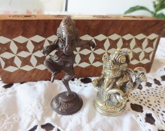 Ganesha Figurines Wood Inlay Box Hindu India Ganesh Deity Home Décor Vintage Collectibles Lot