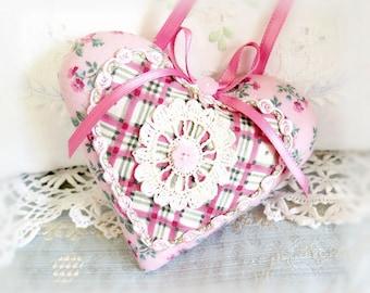 "Pink Heart, Home Decor Heart Ornament 5"" Door Hanger Heart, Pink Ivory Green, Decorative Heart Handmade CharlotteStyle Decorative Folk Art"