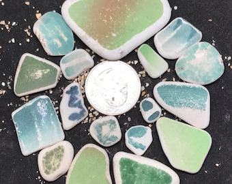 Teal and Green Sea Beach Pottery, Perfect for Jewelry Designs, Flawless Patterns for Pendants, Charms, Earrings, Craft or Mosaics