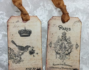 Distressed Paris Gift Tag Set ( Set of 6 ) Notecards, Stationery, Scrapbooking, Journals, Gift Item, Gift Wrapping