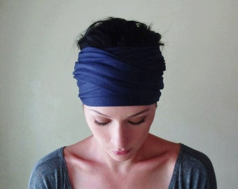 NAVY BLUE Hair Wrap - Bohemian Headband - Jersey Head Scarf - Yoga Hair Accessories - Workout Wear - Womens Boho Hair Accessories