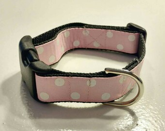Ready To Ship Dog Collar Pink with White Polka Dots