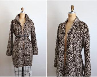 Vintage Leopard Print Coat / Cheetah print Jacket / 90s Jacket / Animal Print Oversized Jacket / Vintage Coat/ Size M/L