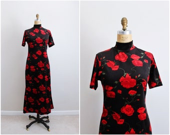 90s Floral Party Dress / Holiday Dress / Maxi Velvet Dress / 1990s Party Dress / Size S/M