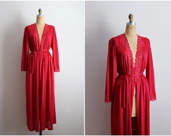 Vintage 70s Olga Nightgown Burgundy Robe / Full Robe Slip/ Wedding Slip / Lace lingerie/ One Size