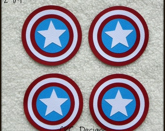 Die Cut Superhero CAPTAIN AMERICA Tags Premade Paper Piecing Embellishment for Card Making Scrapbook or Paper Crafts