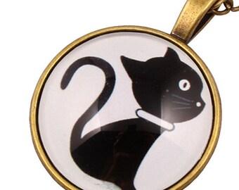 "2pcs-1.5"" black kitty glass dome round cab pendant-antique bronze tone"