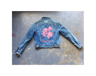 """Dickies denim up cycled jacket with Hand painted """"Thank You"""" roses on the back"""