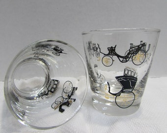 Libbeys Antique Auto Lo-Ball glassware - Gold and Black Antique Auto Barware - Vintage Libbeys Horse and Buggy