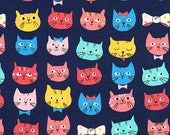 LAMINATED cotton fabric by the yard (similar to oilcloth) - Cat Whiskers & Tails - WIDE - BPA free - Approved for children's products