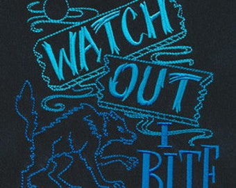 Watch Out I Bite Werewolf Embroidered Flour Sack Hand Towel