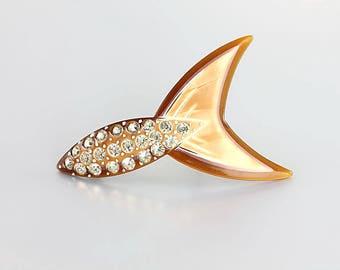 Celluloid Rhinestone Brooch. Art Deco Brooch. Cream Brown. Antique 1920s jewelry. Fish pin.