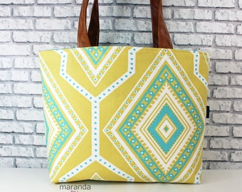Extra Large Lulu 2 Tote Overnight Diaper Bag -Greta Saffron -READY to SHIP Beach Dance Travel Bag 7 pockets Washable  Side Rings