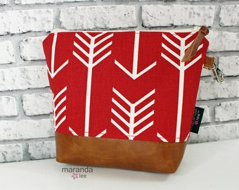 AVA Medium Clutch - Red Arrows with  PU Leather  READY to SHIp Cosmetic bag Travel Make Up Zipper Pouch
