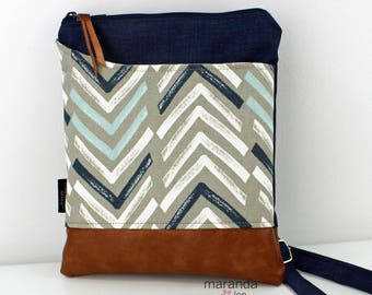 ZOE Messenger Cross Body Sling Bag - Navy Denim with Dancer Blue PU Leather READY to SHIp  Ipad bag
