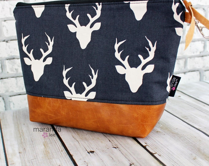 AVA Clutch -Large -Navy Buck  PU Leather Cosmetic   Elk Deer Moose